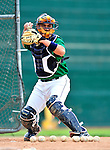 22 June 2009: Vermont Lake Monsters' catcher Sandy Leon warms up prior to facing the Tri-City ValleyCats at Historic Centennial Field in Burlington, Vermont. The Lake Monsters defeated the visiting ValleyCats 5-4 in extra innings. Mandatory Photo Credit: Ed Wolfstein Photo
