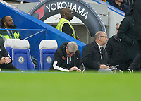 9th November 2019; Stamford Bridge, London, England; English Premier League Football, Chelsea versus Crystal Palace; Crystal Palace Manager Roy Hodgson looking down disappointed while sitting in the dugout during the 2nd half - Strictly Editorial Use Only. No use with unauthorized audio, video, data, fixture lists, club/league logos or 'live' services. Online in-match use limited to 120 images, no video emulation. No use in betting, games or single club/league/player publications
