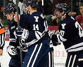 ?, Ryan Obuchowski (Yale - 14), Jesse Root (Yale - 20) - The Yale University Bulldogs defeated the Harvard University Crimson 5-1 on Saturday, November 3, 2012, at Bright Hockey Center in Boston, Massachusetts.