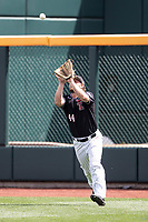 Texas Tech Red Raiders outfielder Tanner O'Tremba (44) makes a catch during Game 1 of the NCAA College World Series against the Michigan Wolverines on June 15, 2019 at TD Ameritrade Park in Omaha, Nebraska. Michigan defeated Texas Tech 5-3. (Andrew Woolley/Four Seam Images)
