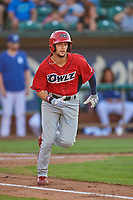Will Wilson (21) of the Orem Owlz hustles to first base against the Ogden Raptors at Lindquist Field on July 27, 2019 in Ogden, Utah. The Raptors defeated the Owlz 14-1. (Stephen Smith/Four Seam Images)