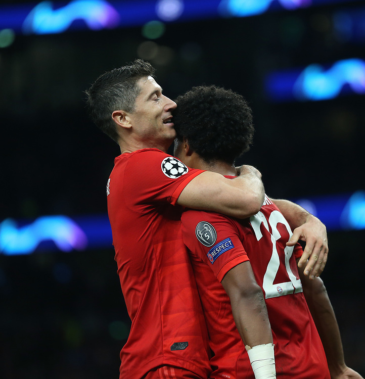 Bayern Munich's Robert Lewandowski and Serge Gnabry celebrate<br /> <br /> Photographer Rob Newell/CameraSport<br /> <br /> UEFA Champions League Group B  - Tottenham Hotspur v Bayern Munich - Tuesday 1st October 2019 - White Hart Lane - London<br />  <br /> World Copyright © 2018 CameraSport. All rights reserved. 43 Linden Ave. Countesthorpe. Leicester. England. LE8 5PG - Tel: +44 (0) 116 277 4147 - admin@camerasport.com - www.camerasport.com