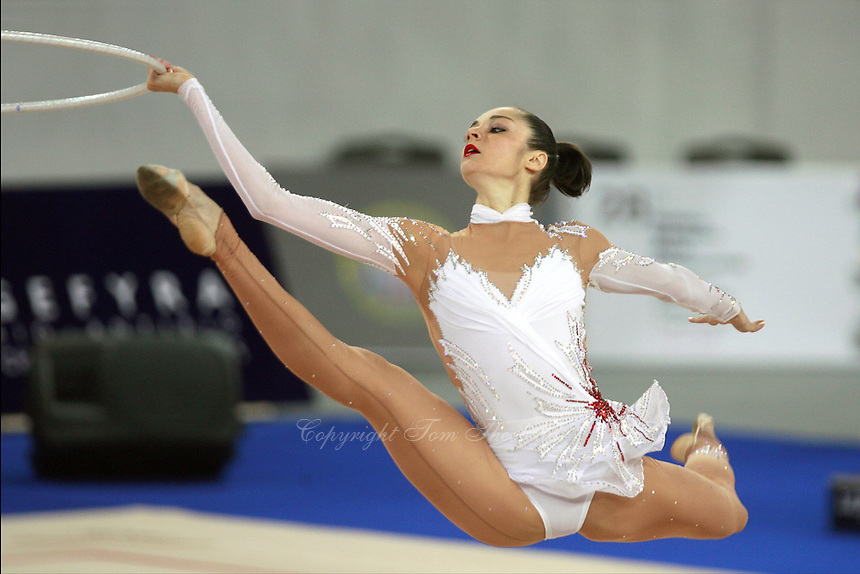 September 17, 2007; Patras, Greece;  Anna Bessonova of Ukraine performs with hoop at 2007 World Championships Patras. Anna won the All-Around gold on Sept 21 to win also the 1st of 2 place for Ukraine in the individual competition at 2008 Beijing Olympic Games.  Photo by Tom Theobald.