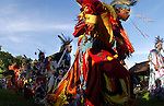 Adult members of the Oneida Tribe of Indians dance during the grand entry at a Pow Wow at the Norbert Hill Center in Oneida, Wis., on July 2, 2004.
