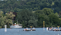 Henley. Berks, United Kingdom. <br /> <br /> General View of the Start, with, &quot;Crews and umpires launch waiting for the off&quot;. 2017 Henley' Women's Regatta. Rowing on, Henley Reach. River Thames. <br /> <br /> <br /> Saturday  17/06/2017<br /> <br /> <br /> [Mandatory Credit Peter SPURRIER/Intersport Images]