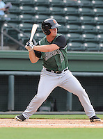 Third baseman Garrett Buechele (21) of the Augusta GreenJackets, a San Francisco Giants affiliate, in a game against the Greenville Drive on August 22, 2012, at Fluor Field at the West End in Greenville, South Carolina. Augusta won, 6-1. (Tom Priddy/Four Seam Images)