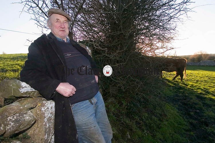 Michael Dale of Kiltartan Gort, photographed while out herding his animals on his farm recently. Photograph by John Kelly.