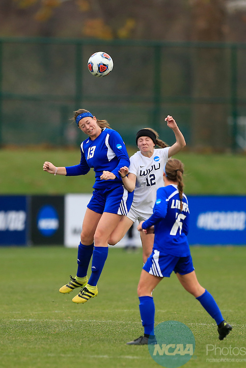 KANSAS CITY, MO - DECEMBER 03:  Caitlyn Jobanek (12) of Western Washington University and Marti Corby (13) of Grand Valley State University battle for the ball during the Division II Women's Soccer Championship held at Children's Mercy Victory Field at Swope Soccer Village on December 03, 2016 in Kansas City, Missouri. Western Washington University beat Grand Valley State University 3-2 to win the national title.  (Photo by Jack Dempsey/NCAA Photos via Getty Images)