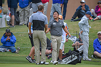 Seamus Power (IRL) shakes hands with Andrew Yun (USA) following Round 2 of the Valero Texas Open, AT&amp;T Oaks Course, TPC San Antonio, San Antonio, Texas, USA. 4/20/2018.<br /> Picture: Golffile | Ken Murray<br /> <br /> <br /> All photo usage must carry mandatory copyright credit (&copy; Golffile | Ken Murray)