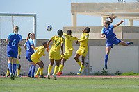 20190306 - PARALIMNI , CYPRUS : Finnish defender Katarina Naumanen (right) scored pictured during a women's soccer game between Finland and South Africa , on Wednesday 6 March 2019 at the Tassos Markou Stadium in Paralimni , Cyprus.  This last game for both teams which decides for places 9 and 10 of the Cyprus Womens Cup 2019 , a prestigious women soccer tournament as a preparation on the Uefa Women's Euro 2021 qualification duels.PHOTO SPORTPIX.BE | STIJN AUDOOREN
