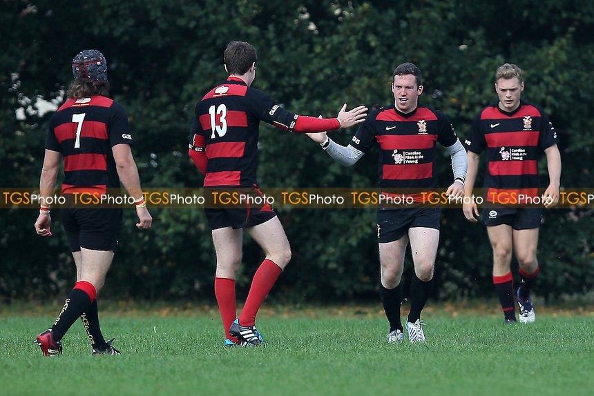 Campion celebrate their second try - Old Cooperians RFC vs Campion RFC - London 2 North East Rugby at Coopers Company & Coborn School, Upminster - 20/09/14 - MANDATORY CREDIT: Gavin Ellis/TGSPHOTO - Self billing applies where appropriate - contact@tgsphoto.co.uk - NO UNPAID USE
