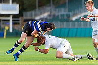Chris Barry of Bath United is tackled. Aviva A-League match, between Bath United and Saracens Storm on September 1, 2017 at the Recreation Ground in Bath, England. Photo by: Patrick Khachfe / Onside Images