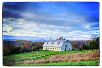 A tilt-shift view of barn with Blue Ridge Mountains and fall colors in Charlottesville, Va. Photo/Andrew Shurtleff
