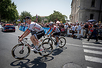 Caleb Ewan (AUS/Lotto-Soudal) in the wheel of his predecessor at Lotto-Soudal (and cycling icon) André Greipel (DEU/Arkea-Samsic) at the race start in front of the Arena in Nîmes<br /> <br /> Stage 16: Nîmes to Nîmes (177km)<br /> 106th Tour de France 2019 (2.UWT)<br /> <br /> ©kramon