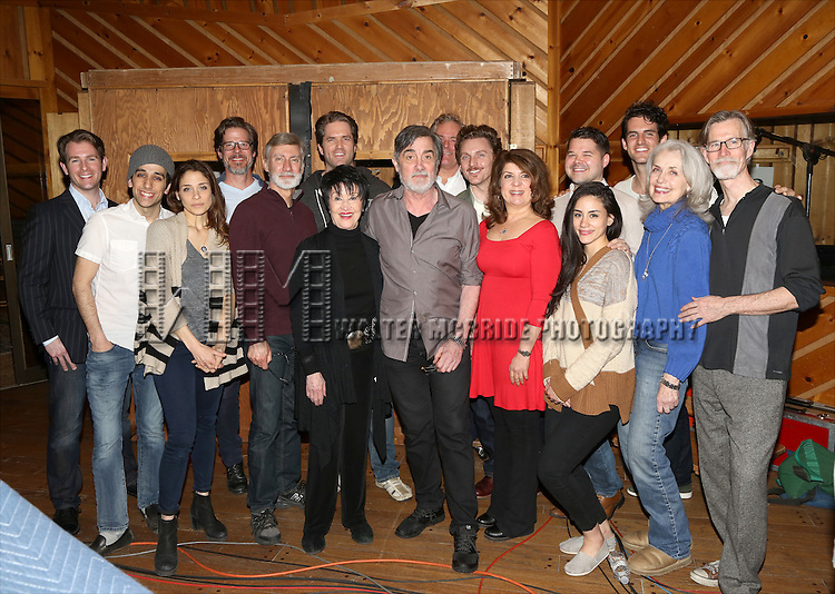 David Garrison, Chita Rivera, Roger Rees, Jason Danieley, Mary Beth Peil and the ensemble cast during the Original Broadway Cast Recording of 'The Visit' at Avatar Recording Studio on April 27, 2015 in New York City.