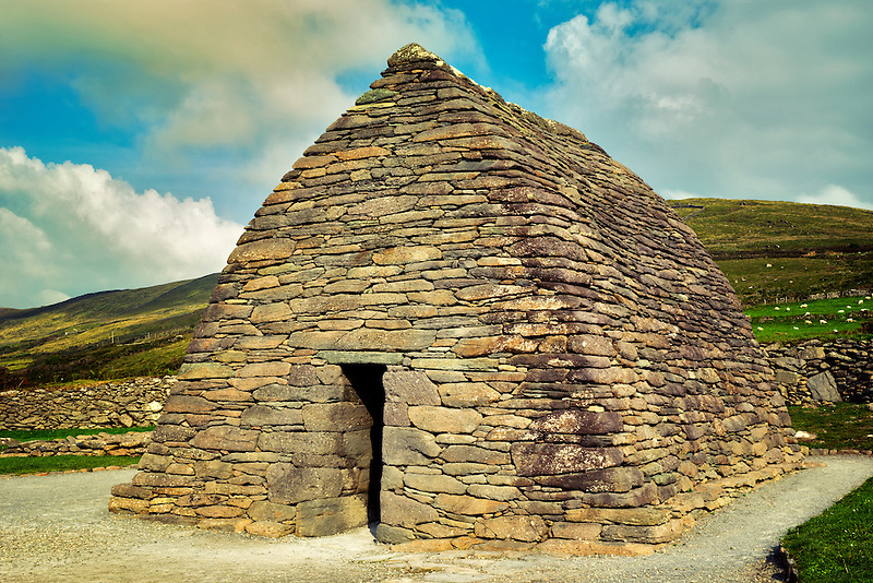 Gallarus Oratory and clouds. Slea Head Drive. Dingle Peninsula, Ireland