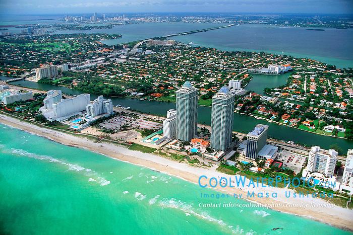 Miami Beach, .downtown Miami at distance,  .Miami, Florida (Atlantic).
