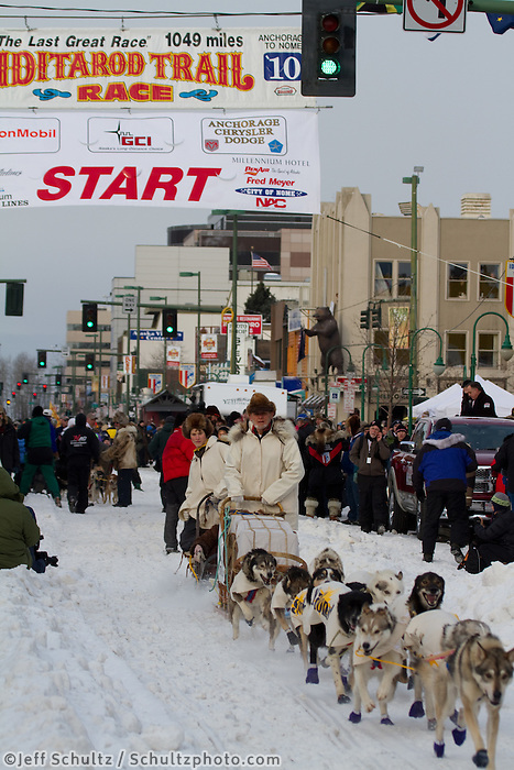 2010 Iditarod Ceremonial Start in Anchorage Alaska honorary Musher Dan Seavey