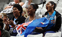22.02.2018 Fans in action during the Fiji v Malawi Taini Jamison Trophy netball match at the North Shore Events Centre in Auckland. Mandatory Photo Credit ©Michael Bradley.
