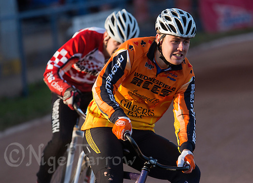 13 SEP 2014 - IPSWICH, GBR - Ben Mould (right) of Wednesfield Aces takes a corner during a heat of the 2014 British Open Club Cycle Speedway Championship final at Whitton Sports & Community Centre in Ipswich, Great Britain (PHOTO COPYRIGHT © 2014 NIGEL FARROW, ALL RIGHTS RESERVED)