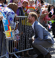 14 May 2019 - Prince Harry Duke of Sussex, meets members of the public during a visit to Barton Neighbourhood Centre in Oxford. The centre is a hub for local residents which houses a doctor's surgery, food bank, cafe and youth club. Photo Credit: ALPR/AdMedia