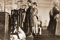 "Histoirical Views:  Lewis Hine Photograph ""Young Girls Knitting Stockings in Southern Hosiery MIll, 1910"".   Photo '78.  Reference only."