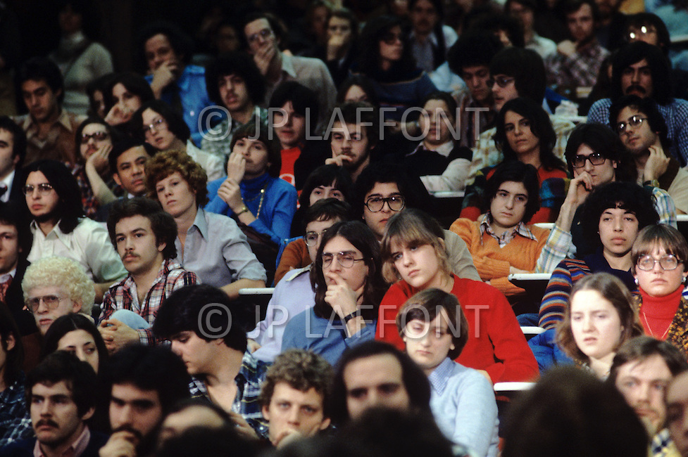 Montreal, Canada, March 1978. Students at McGill University listening to a speech by Rene Levesque.