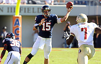 Oct 2, 2010; Charlottesville, VA, USA; Virginia Cavaliers quarterback Ross Metheny (15) throws the ball with pressure from Florida State Seminoles linebacker Christian Jones (7)during the 2nd half of the game at Scott Stadium. Florida State won 34-14.  Photo/The Daily Progress/Andrew Shurtleff