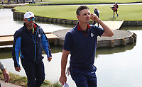Justin Rose (Team Europe) loses on the 18th during Friday's Fourballs, at the Ryder Cup, Le Golf National, Îls-de-France, France. 28/09/2018.<br /> Picture David Lloyd / Golffile.ie<br /> <br /> All photo usage must carry mandatory copyright credit (© Golffile | David Lloyd)