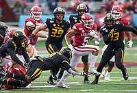 Hawgs Illustrated/BEN GOFF <br /> Rakeem Boyd, Arkansas running back, breaks the tackle of Tyree Gillespie, Missouri strong safety, in the first quarter Saturday, Nov. 29, 2019, at War Memorial Stadium in Little Rock.