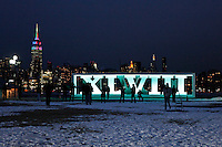 Roman numerals for NFL Super Bowl XLVIII football game displayed in Hoboken ahead of Super Bowl XLVIII that will take place next sunday in New Jersey January 28, 2014 Photo by Kena Betancur / VIEWpress.