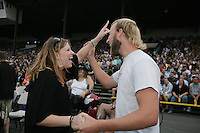 Heather Langeland and Travis Bouwman, both of  Sumas, Wa, dance to the music of Foreigner at the NW Washington Fair. August 20, 2009 PHOTOS BY MERYL SCHENKER            ....schenker IMG_9470.JPG