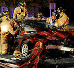 Two car head on w1th extrication, Wednesday, Oct. 17, 2012, at the intersections of Roberts Street and Simmons Road. Three people were pinned in 1 car and one was pinned in the other vehicle. All were transported to the hospital for treatment. East Hartford Fire Dept. used engine 3 engine 1 ladder 1 and the squad along with car 3.