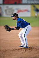 Missoula Osprey first baseman Joe Robbins (26) during a Pioneer League game against the Orem Owlz at Ogren Park Allegiance Field on August 19, 2018 in Missoula, Montana. The Missoula Osprey defeated the Orem Owlz by a score of 8-0. (Zachary Lucy/Four Seam Images)