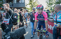 stage winner Luka Pibernik (SVN/Lampre-Merida) after finishing<br /> <br /> 12th Eneco Tour 2016 (UCI World Tour)<br /> Stage 6: Riemst › Lanaken (185km)