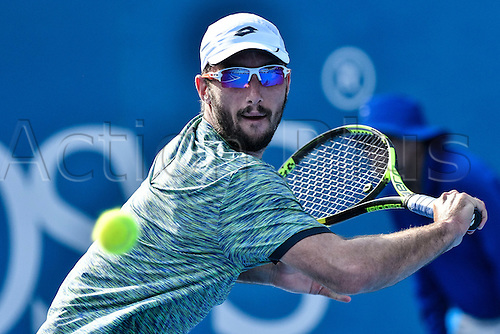 13.01.17 Sydney Olympic Park, Sydney, Australia. Two time defending champion Viktor Troicki (SRB) in action against Gilles Muller (LUX) during their semi match on day 6 at the Apia International Sydney. Muller won the match 6-3,7-6.