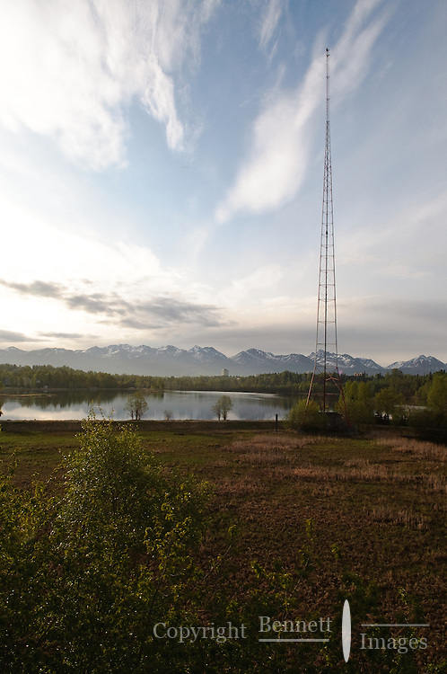 Westchester Lagoon in Anchorage as seen from the Alaska Railroad Coastal Classic in the early morning.