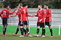 Adam Cornell of Bracknell Town scores the second Goal and celebrates during Waltham Abbey vs Bracknell Town, Bostik League South Central Division Football at Capershotts on 9th February 2019