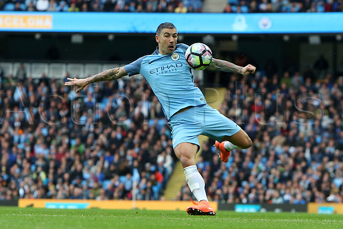 23.10.2016. The Etihad, Manchester, England. Premier League Football. Manchester City versus Southampton. Aleksandar Kolarov of Manchester City attempts a volleyed shot at goal during the second half.