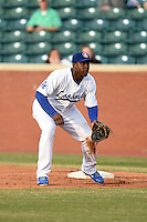 Chattanooga Lookouts first baseman O'Koyea Dickson (7) during a game against the Birmingham Barons on April 24, 2014 at AT&T Field in Chattanooga, Tennessee.  Chattanooga defeated Birmingham 5-4.  (Mike Janes/Four Seam Images)