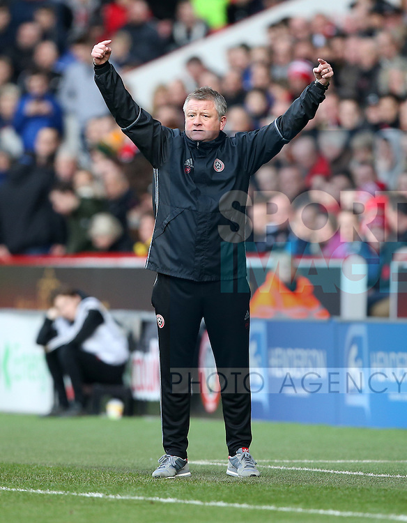 Sheffield United's Chris Wilder in action during the League One match at Bramall Lane Stadium, Sheffield. Picture date: February 18th, 2017. Pic David Klein/Sportimage