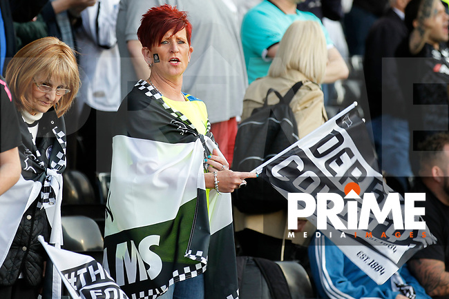 Derby County fans seen during the Sky Bet Championship play off semi final 2nd leg match between Fulham and Derby County at Craven Cottage, London, England on 15 May 2018. Photo by Carlton Myrie / PRiME Media Images.