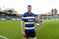 Bath Rugby Man of the Match Paul Grant posess for a photo after the match. Aviva Premiership match, between Bath Rugby and Newcastle Falcons on September 23, 2017 at the Recreation Ground in Bath, England. Photo by: Patrick Khachfe / Onside Images
