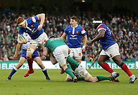 Sunday10th March 2019 | Ireland vs France<br /> <br /> Felix Lambey is tackled by Jack Conan and Peter O&rsquo;Mahony during the Guinness 6 Nations clash between Ireland and France at the Aviva Stadium, Lansdowne Road, Dublin, Ireland. Photo by John Dickson / DICKSONDIGITAL