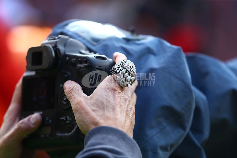 Jan 24, 2016; Denver, CO, USA; Detailed view of a Super Bowl championship ring worn by a New England Patriots team photographer on the sidelines against the Denver Broncos in the AFC Championship football game at Sports Authority Field at Mile High. The Broncos defeated the Patriots 20-18. Mandatory Credit: Mark J. Rebilas-USA TODAY Sports