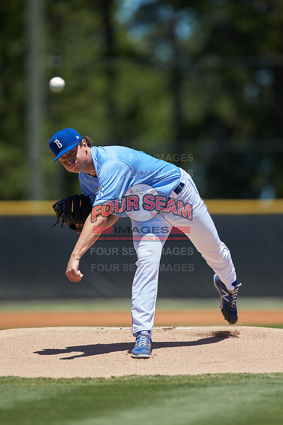 Burlington Royals starting pitcher Austin Cox (16) delivers a pitch to the plate against the Greeneville Reds at Burlington Athletic Stadium on July 8, 2018 in Burlington, North Carolina. The Royals defeated the Reds 4-2.  (Brian Westerholt/Four Seam Images)