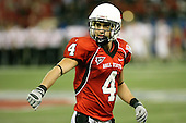 January 5th, 2008:  Ball State wide receiver Danile Ifft (4) checks with the official during the fourth quarter of the International Bowl at the Rogers Centre in Toronto, Ontario Canada...Rutgers defeated Ball State 52-30.  ..Photo By:  Mike Janes Photography