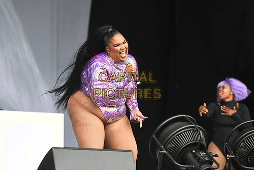 SHEPTON MALLET, ENGLAND - JUNE 29: Lizzo performing at Glastonbury Festival, Worthy Farm, Pilton, on June 29, 2019 in Shepton Mallet, England.<br /> CAP/MAR<br /> ©MAR/Capital Pictures