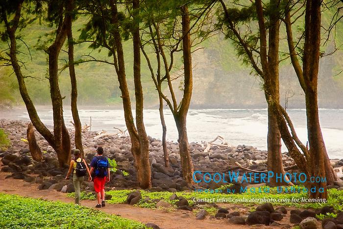 Hikers at Waipi`o Beach, Big Island, Hawaii, Pacific Ocean