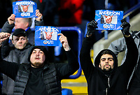 Bolton Wanderers fans protest in their seats<br /> <br /> Photographer Alex Dodd/CameraSport<br /> <br /> The EFL Sky Bet Championship - Bolton Wanderers v West Bromwich Albion - Monday 21st January 2019 - University of Bolton Stadium - Bolton<br /> <br /> World Copyright © 2019 CameraSport. All rights reserved. 43 Linden Ave. Countesthorpe. Leicester. England. LE8 5PG - Tel: +44 (0) 116 277 4147 - admin@camerasport.com - www.camerasport.com